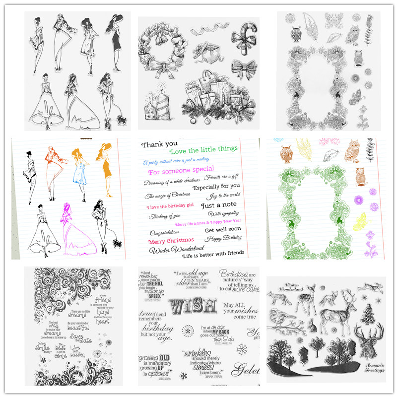 DIY Transparent Clear Silicone Seals Stamp Forest Sentences Fashion Women Stamps for Photo Album Cards Stamp Decoration Gift lovely animals and ballon design transparent clear silicone stamp for diy scrapbooking photo album clear stamp cl 278