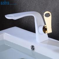 Azeta Basin Faucets Modern Bathroom Tap Brass White Washbasin Mixer Tap Single Handle Elegant Crane Basin Faucet AT8886WG