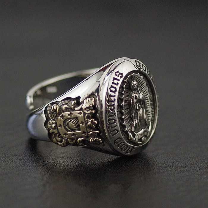 925 пробы Серебряное подлинное Новое Статуя Девы Марии открывается Ретро тайское серебряное кольцо.