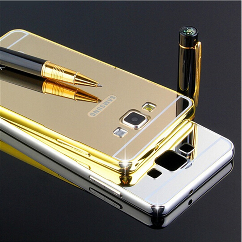 Luxury Golden plating Aluminum Frame + Armor Mirror Acrylic Back Cover Case For Samsung galaxy A7 E7 J7 2016 Phone Bags Cases