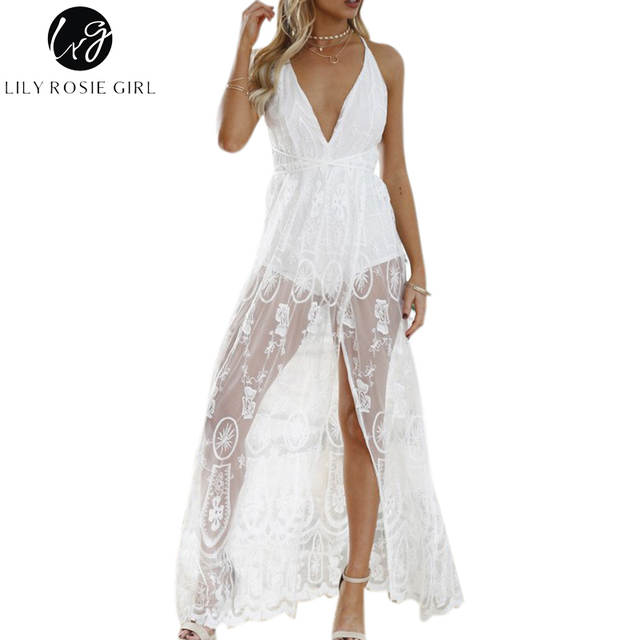 dbaafb9b06ecb US $28.32 |Lily Rosie Girl Deep V Neck White Lace Mesh Dress Off Shoulder  Summer Beach Sexy Backless Party Maxi Long Dresses Vestidos on ...