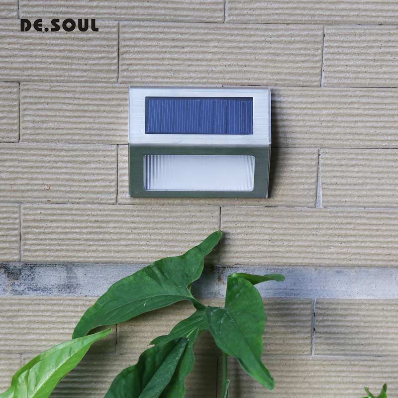 DE.SOUL 1-4pcs LED Solar Light Stainless Steel Solar Power Lamps Outdoor Waterproof Garden Energy Saving Courtyard Pathway Wall