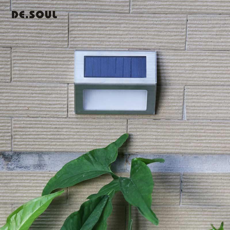DE.SOUL 1-4pcs LED Solar Light Stainless Steel Solar Power Lamps Outdoor Waterproof Garden Energy Saving Courtyard Pathway Wall