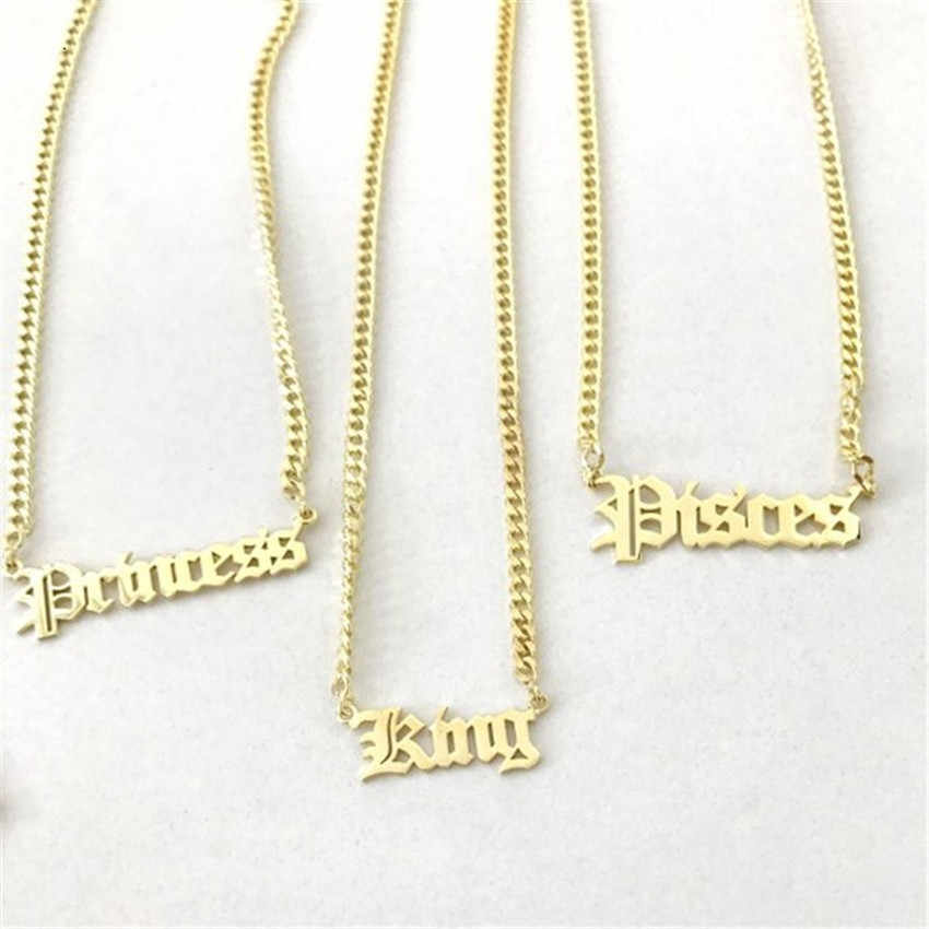 Personalized Name Necklace Stainless Steel Curb Chain Custom Old English Font Pendant Handmade Men Jewelry For Women Bridesmaid