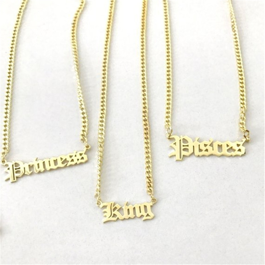 Nome personalizado colar de aço inoxidável curb chain personalizado antigo inglês fonte pingente artesanal jóias masculinas para mulher dama de honra