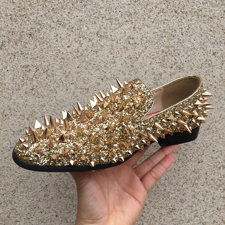 Hot Spring Autumn Shoes Man Casual Rivets Loafers Square Toe Shallow Slip On Cozy Flats Bling Studded Flats Man Shoes Plus Size