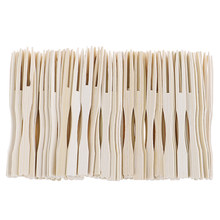 100PCS bambus Einweg Holz obst gabel Dessert Cocktail Gabel Set Party Haushalt Decor Geschirr liefert(China)