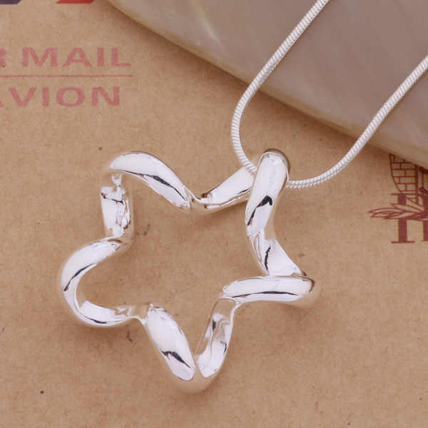 AN313 Hot 925 sterling silver Necklace 925 silver fashion jewelry pendant Three-dimensional five-star /gnzapfga aslajjsa