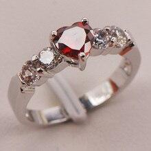 Granate Blanco Crystal Zircon 925 Anillo de Plata Tamaño 5 6 7 8 9 Moda F667
