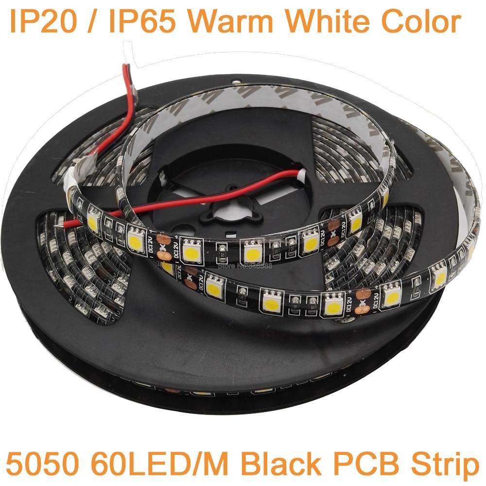 5M 12V 10mm Width Black PCB LED Strip 5050 DC12V IP20 IP65 Waterproof 60LED/M Warm White 5050 LED Strip 60 LED/M