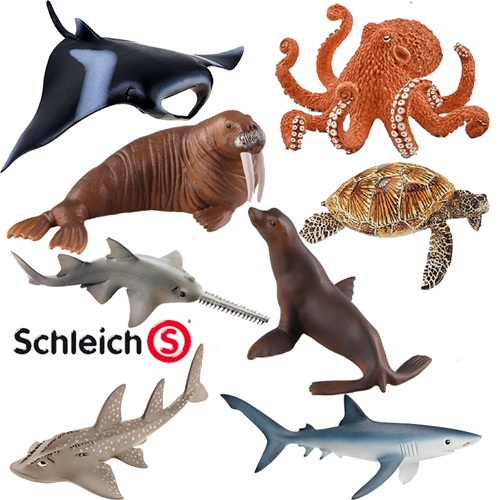 Brand Toys Sea Life Animals Model octopus guitarfish Blue Shark Pristis sea turtle Black Manta 8cm~16cm original octonauts octonauts marine animals creatures figures toy sea turtle urchin white tip shark child toys minifigures