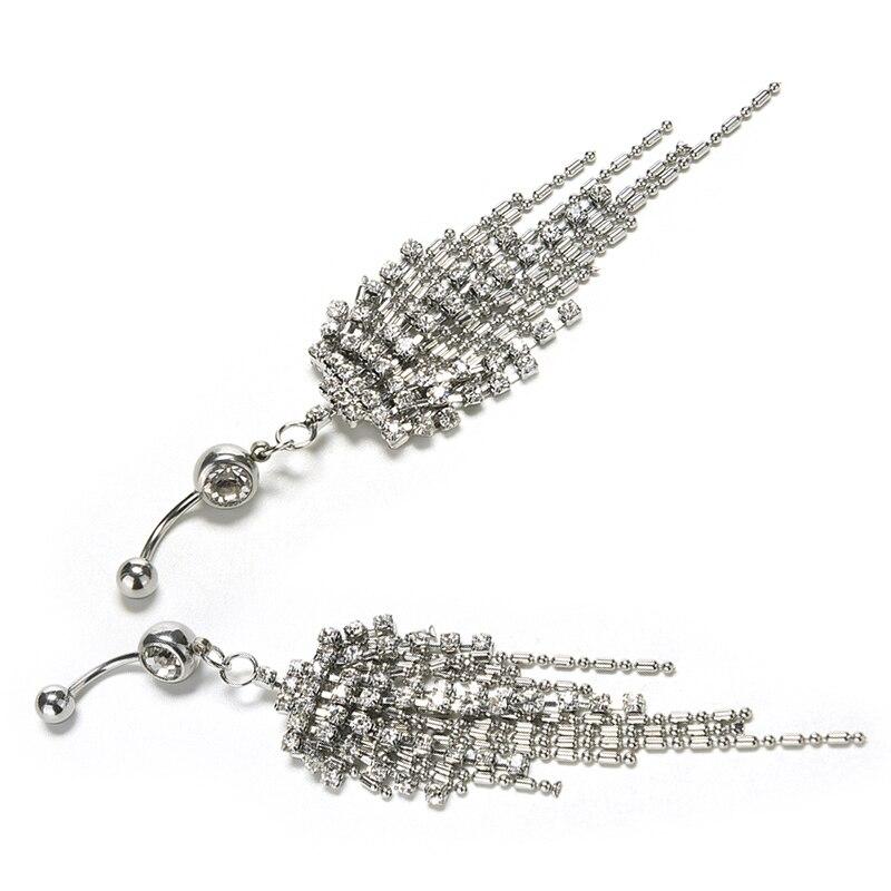 HTB1i1pBOVXXXXbnapXXq6xXFXXXP Womens Body Piercing Jewelry Navel Ring With Luxurious Crystal Chain Tassels