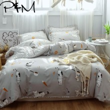 Papa&Mima Cute cat print Cartoon style bedding sets Cotton bedlinens Twin full Queen size pillowcases duvet cover