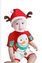 Y01-X234 Children kid's boys girl Clothing short sleeve outdoor clothing Christmas Cartoon snowman baby romper with hat 2pcs/set