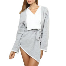 44fe7b513758ac (Ship from US) Women Night Gown Blouse Tunic Irregular Long Sleeve Loose  Robes Long Winter femme Sexy Nightclothes Nachtkleding Nightshirts