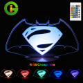 3D LED Mood Lamp RGB Changeable LED Night Light DC5V USB Super Hero Decorative Table Lamp.