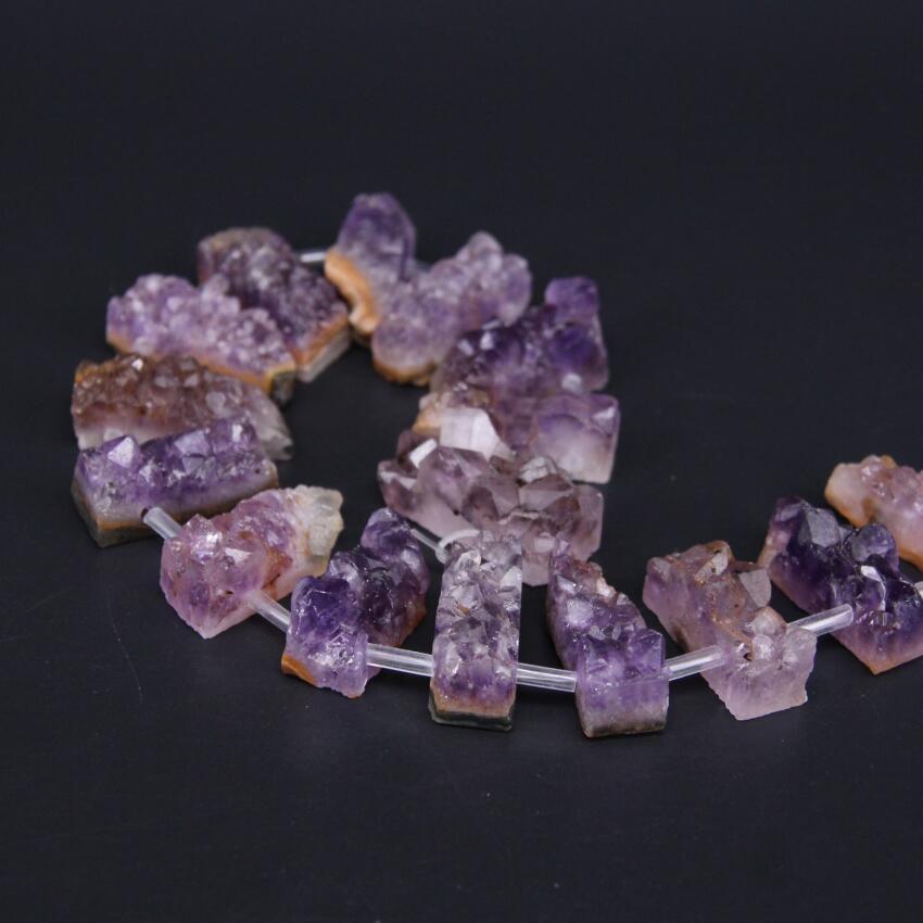 Full strand Colourful Amethyst Geode Slab Slice Beads Bulk,Natural Quartz Crystal Druzy Drusy Freeform Nugget Beads Pendant Jewelry Supplies