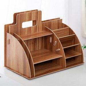 Image 3 - Holz Schreibtisch Veranstalter Büro Bureau Stift Halter Holz Sorter mit Schublade Organizer Stift Bleistift Veranstalter