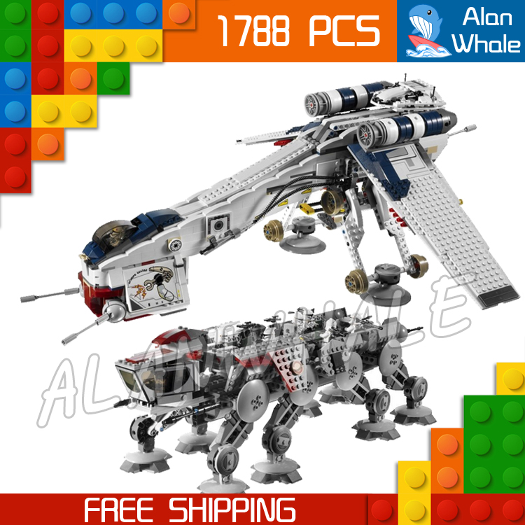 1788pcs Space Wars Republic Dropship with AT-OT Walker 05053 DIY Model Building Blocks Teenagers Toys Brick Compatible with Lego w 29 at at walker style wall sticker