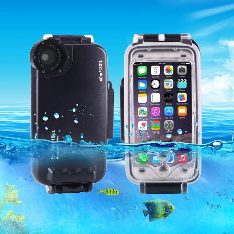 imágenes para Para el iphone 7 Más Caso 40 m/130ft Toma de Fotos A Prueba de agua Carcasa de La Cámara Bajo El Agua Buceo Caso de la Cubierta para Apple iPhone 7 plus