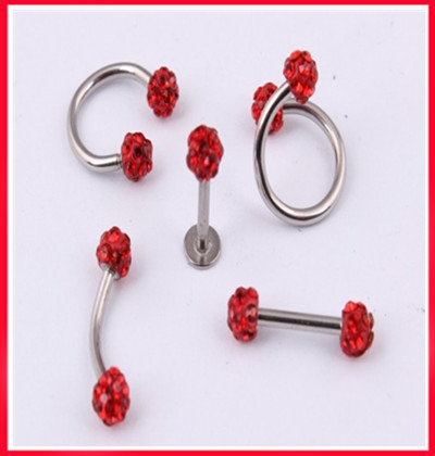 Nose ring 16G L30free shipping 25pcs /lot mix 5 style red shamballa eyebrow ring CBR sprial ear stud lip ring body jewelry