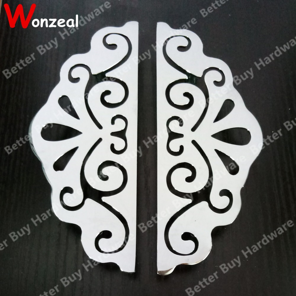 One Pair Symmetric style Chrome finished Furniture handle of Hole CC 96mm pull For Wardrobe kitchen Cabinet dresser closet door xyivyg chrome mirror 2 door handle cover without smart hole for nissan pathfinder 05 06 07 08 09 10 11 12