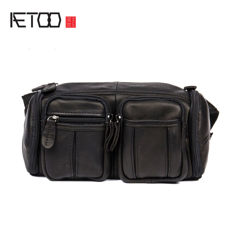 AETOO Retro first layer of leather waist bales shoulder Messenger bag leather chest bag men bag leisure package men s leather oblique cross chest packs of the first layer of leather deer pattern men s shoulder bag korean fashion men s bag