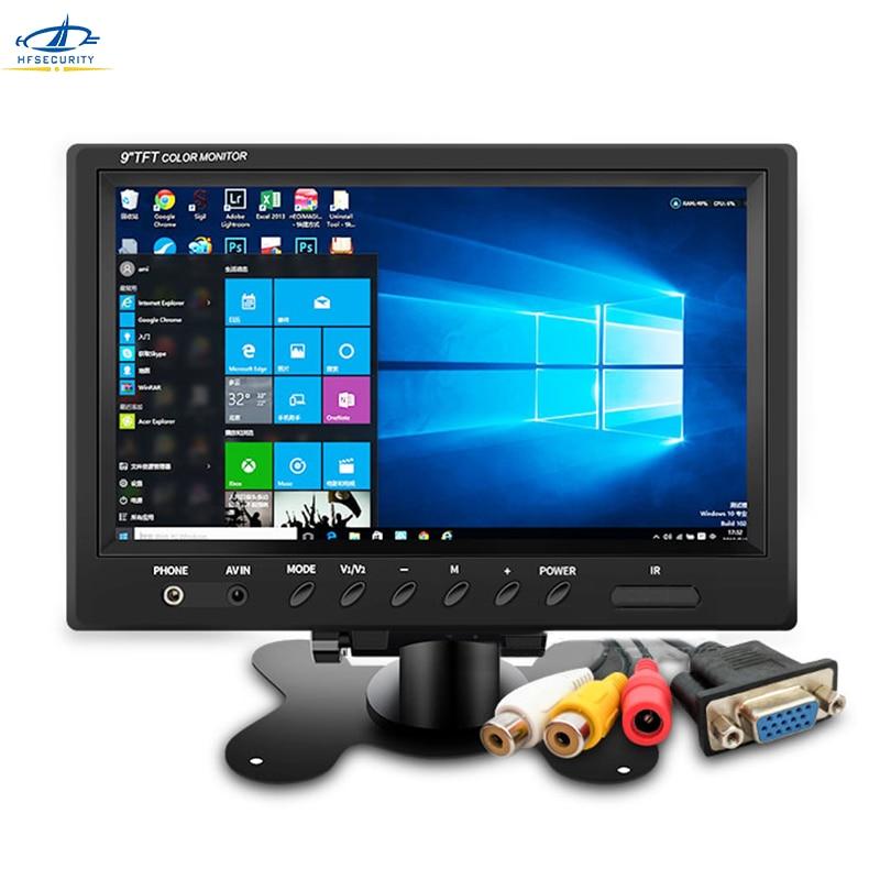 HF 9 Inch HD 1024 * 600P CCTV Monitor AV Screen VGA Video Monitors PAL NTSC Monitor Reversing Display Laptop TFT Color Screen 1