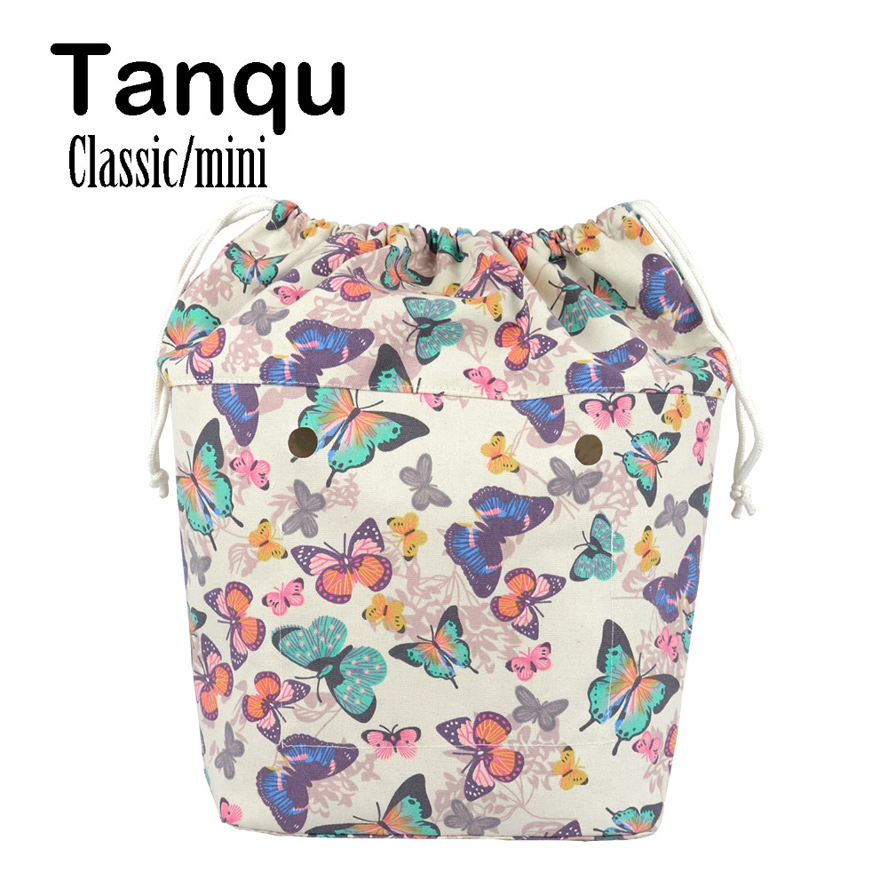 TANQU New Large Capacity Classic Mini Drawstring Colorful Inner Lining Insert for Big Mini Obag Canvas Inner Pocket for O Bag tanqu tela insert lining for o chic ochic colorful canvas inner pocket waterproof inner pocket for obag