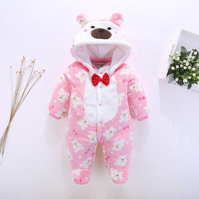 Autumn & Winter Baby Clothes Cartoon Fleece Infant One Piece Baby Rompers Hooded Clothing Baby boys girls Babe Overalls mother nest 3sets lot wholesale autumn toddle girl long sleeve baby clothing one piece boys baby pajamas infant clothes rompers