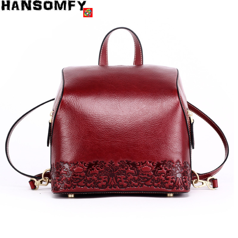2018 New Women Backpacks Real cowhide leather small suede leather soft casual retro printed flowers Pattern Female Shoulder Bags