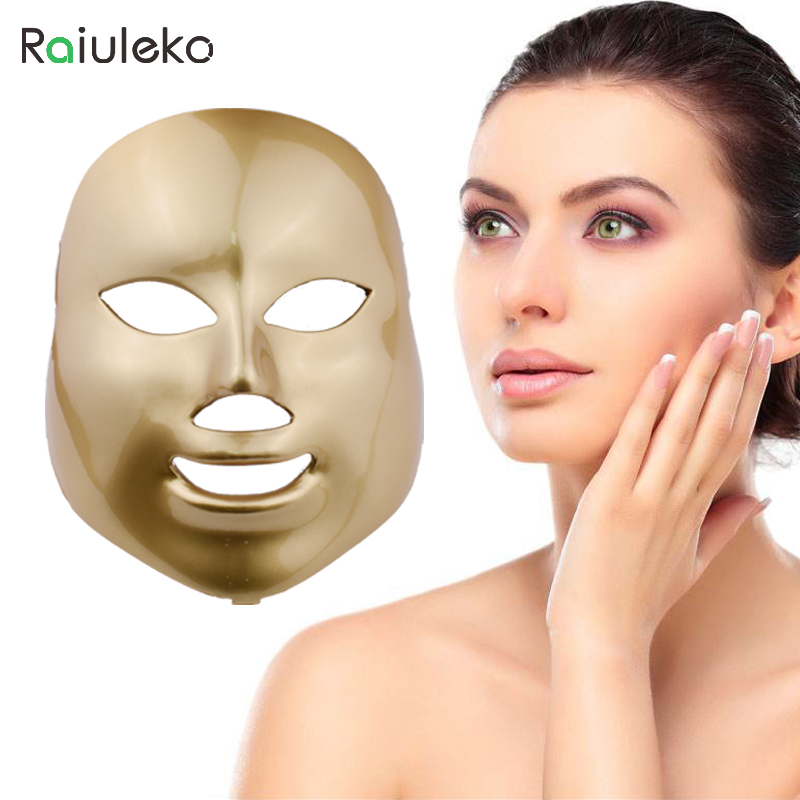 Photodynamic LED Facial Mask Skin Rejuvenation Wrinkle Removal Electric Device Anti-Aging Mask Therapy 7 Colors Beauty Machine 7 colors light photon electric led facial mask skin pdt skin rejuvenation anti acne wrinkle removal therapy beauty salon