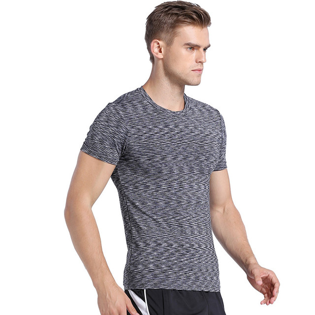 4 Colors Men's Short Sleeve Round Collar T Shirt Male Elastic Fitness Slim T-Shirt Quick Drying Tshirt for Men