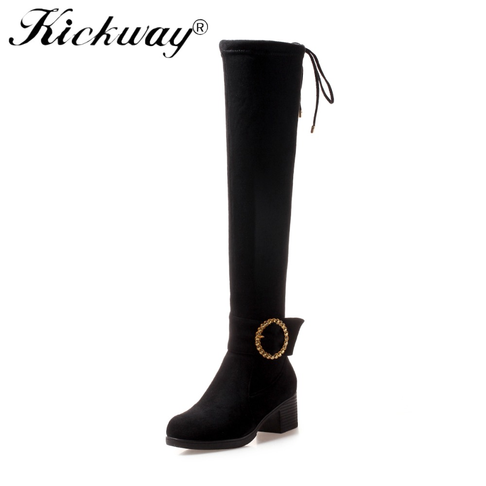 Kickway 2018 Sexy Lady Thigh High Boot Big Buckle Stretch Woman Over Knee Boot Stilettos High Heels Shoes Women Pointy Boot цена