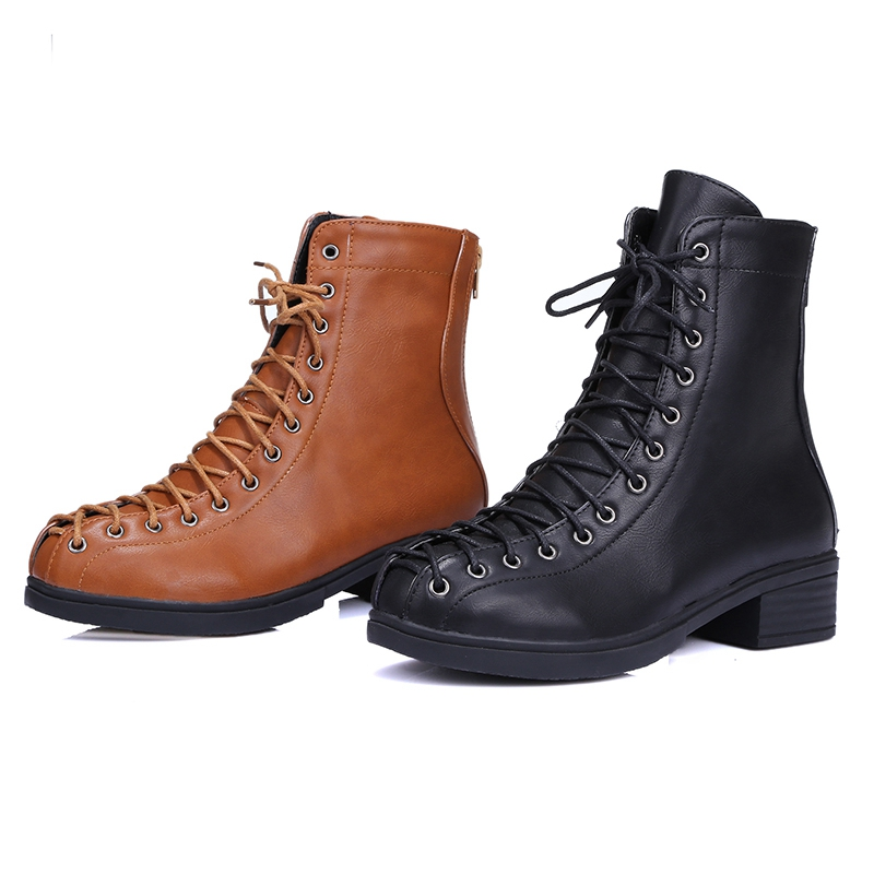 ENMAYER New Fashion women round toe solid lace up square heel boots lady cross tied boots ZYL670 in Ankle Boots from Shoes