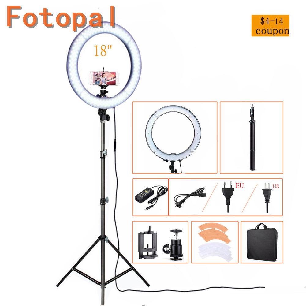 Fotopal Photographic Lighting Dimmable Camera <font><b>Photo</b></font>/<font><b>Studio</b></font>/Phone Photography 55W 240 <font><b>LED</b></font> Ring Light With Tripod&#038;Bags