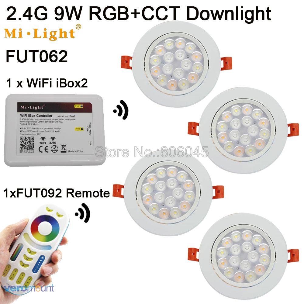 Fut062 AC85-265V milight 9 Вт RGB + <font><b>CCT</b></font> Wi-Fi Совместимые светодиодный светильник потолочный 2.4 г Беспроводной 4-Zone Remote android/IOS APP Управление