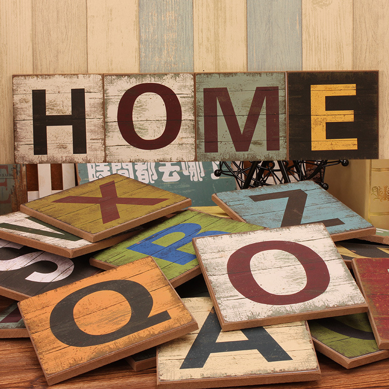 Q Home Decor: English Letter A Q Wood Decoration House Baby Kids Room