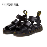 2016 Summer Roman Unsexy Couple Sandals Shoes Genuine Leather Retro Women And Men Sandals Black White