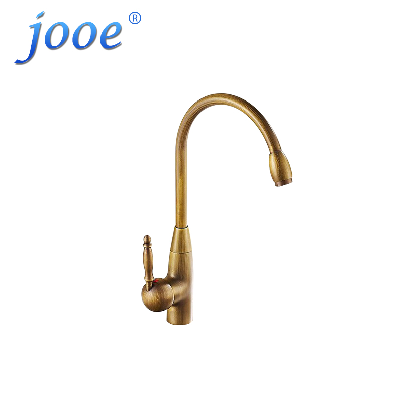jooe European Antique Brass kitchen faucet Brushed Single Holder hot and cold mixer water tap for sink faucet torneira robinet купить