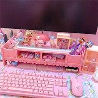 1PC Pink Wood notebook increase bracket computer desktop computer lift shelf laptop bracket dolls collection