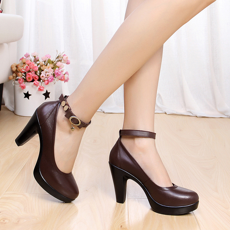 Women Genuine Leather Shoes White Black Block Heels Platform Shoes Women High Heels Ankle Strap For Ladies Office Work Shoes NewWomen Genuine Leather Shoes White Black Block Heels Platform Shoes Women High Heels Ankle Strap For Ladies Office Work Shoes New