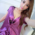 New Arrival 2016 Silk Womens Robe Set Free Shipping Bathrobe + Suspender Nightgown MINI Nightwear With Lace Short Sleeve Hot
