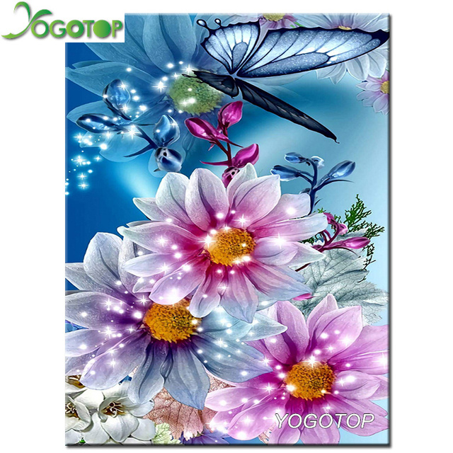 Yogotop Diy Diamant Stickerei Blumen Schmetterlinge Vollen Diamant