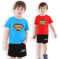 Children Clothes Suit For Boy Super Baby Printing T Shirt Shorts Set Cotton Short Sleeves Age