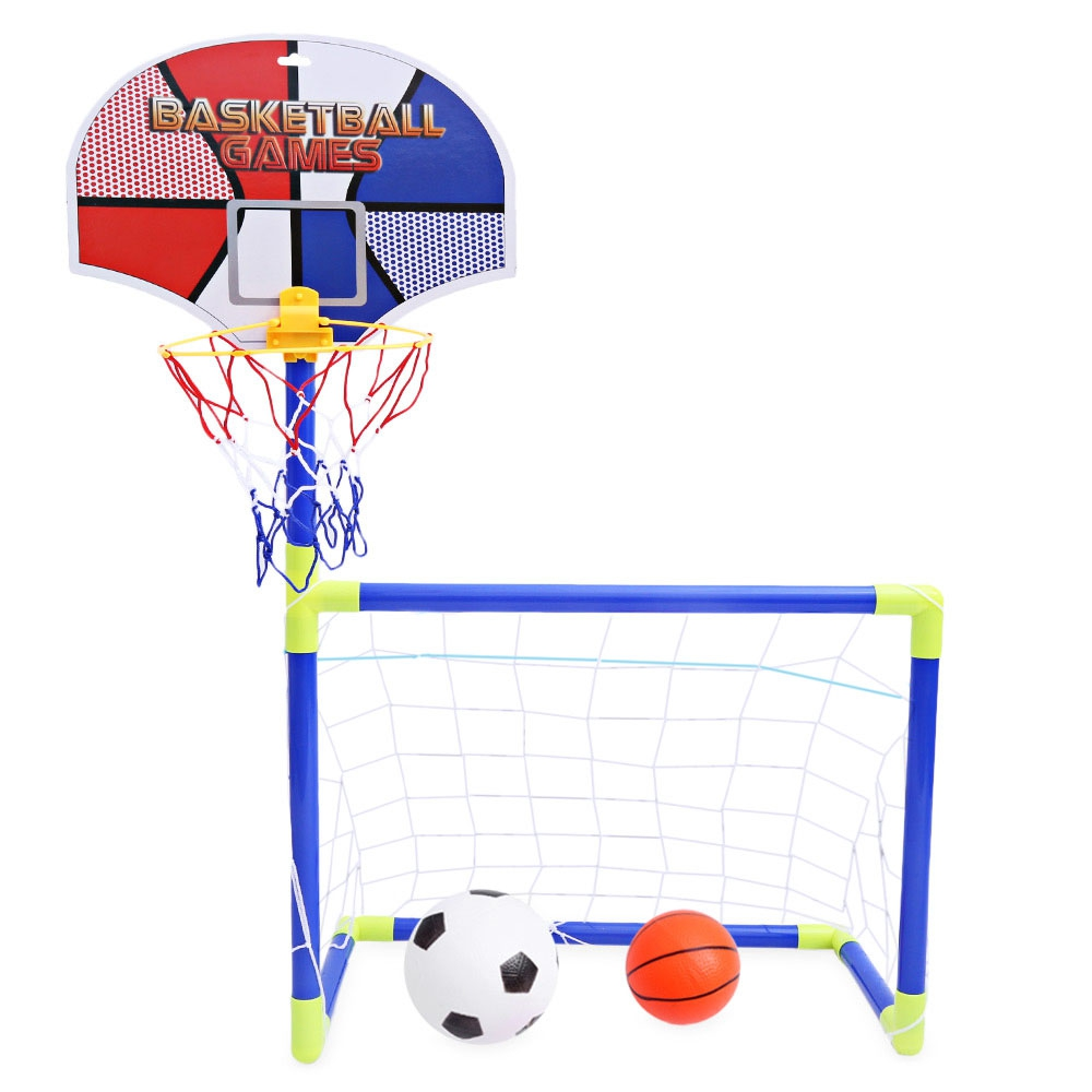 Kids Portable 2 in 1 Basketball Football Frame Set Indoor Outdoor Toys Sport Mini Gym Playing Games Developmental Toys ...