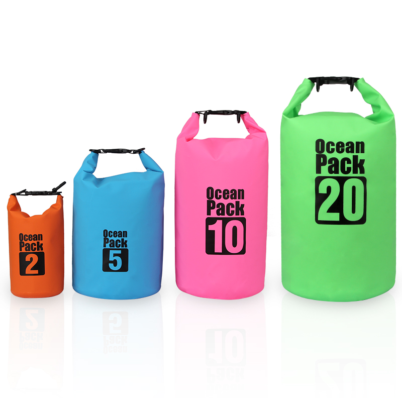 PVC 2L 5L 10L 20L Outdoor Diving Compression Storage Waterproof Bag Dry Bag For Man Women Swimming Rafting Kayak