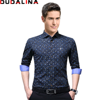 Dudalina 2017 Print High Quality Brand Male Shirt Long Sleeve Shirt 100 Cotton Slim Fit Shirt