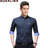 Dudalina 2017 Print High Quality Brand Male Shirt Long Sleeve Shirt 100 Cotton Slim Fit Shirt