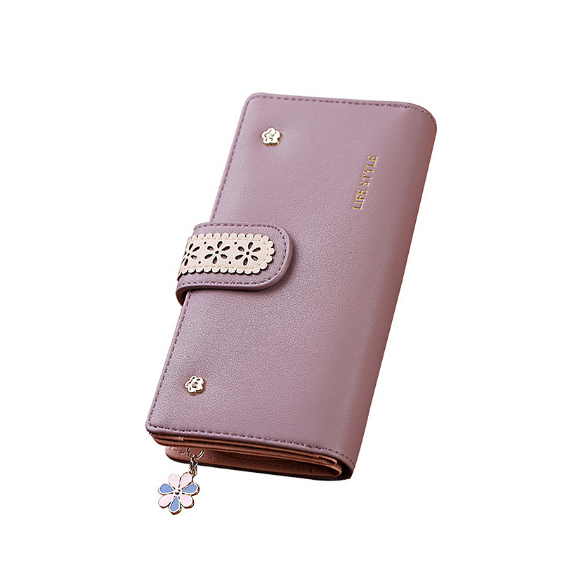 Hollow out Floral wallets zipper cellphone Cheque purses luxury leather women wallet brand portefeuille femme Clutch card holder floral hollow out faux leather choker set page 2